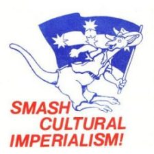 Anti-Americanisation sticker from the 1980s